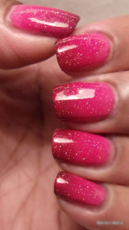 pink red gradient manicures