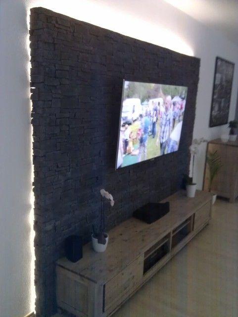 Steinwand Mediawand Eigenbau #tv units modern luxury Bilder eurer Steinwände / Kiesbetten, Racks, Gehäuse