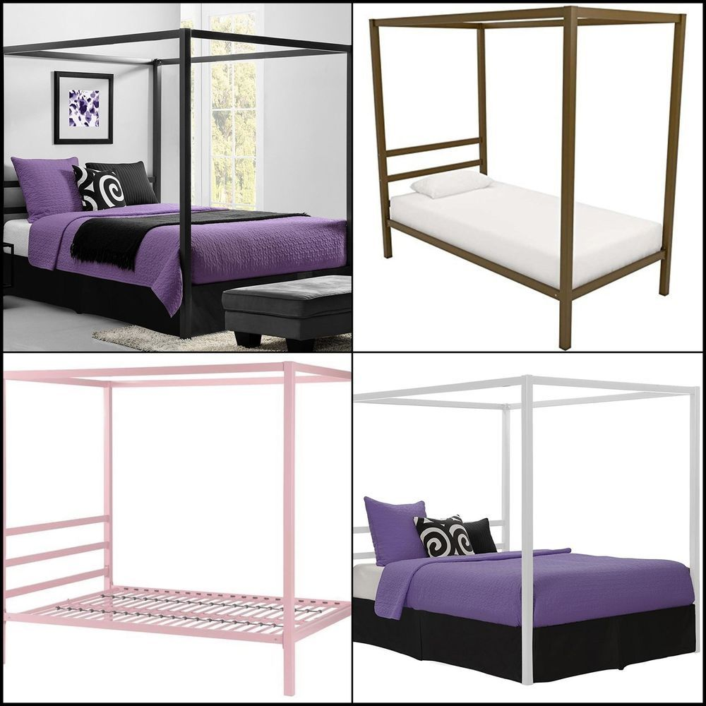 Metal Canopy Bed Frame W Headboard Platform Modern Bedroom