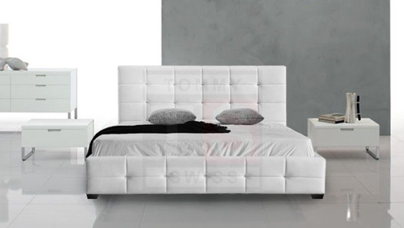 king size pu leather bed frame pierre collection white tsb105k w
