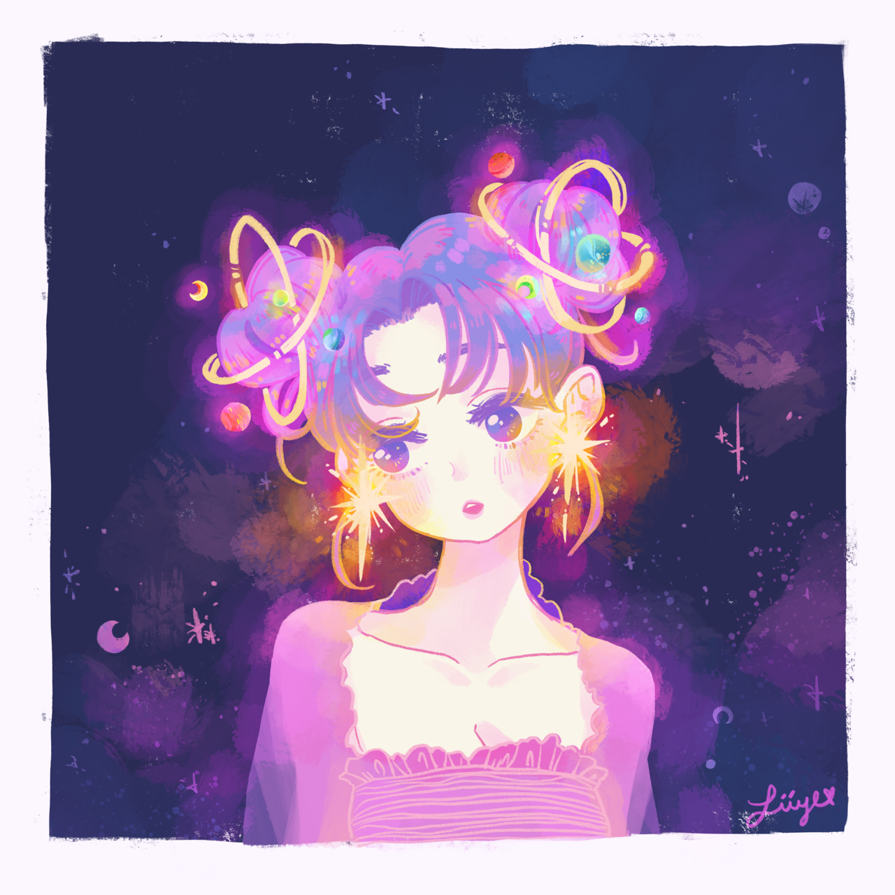 Space Buns By Zii Ye On Tumblr Anime Iphone Wallpaper Illustration Cute Art