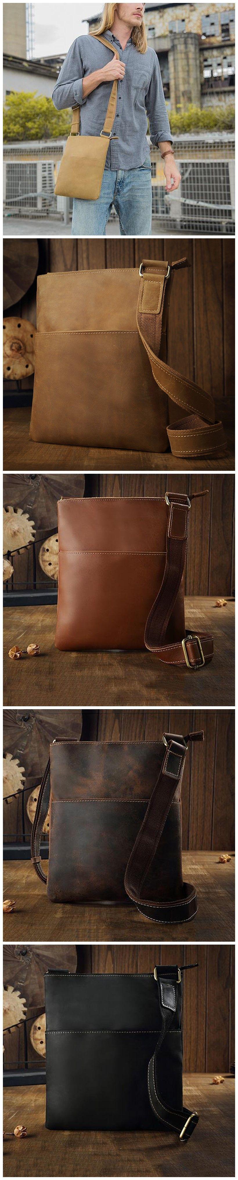 a307dde60269 6 Colors Handmade Men Men Messenger Bag Full Grain Leather Shoulder ...