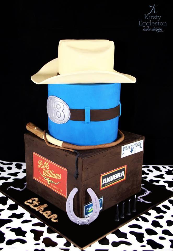 Australian Country 18th Birthday Cake Fondant Akubra Hat Stockwhip Barbed Wire Horseshoe