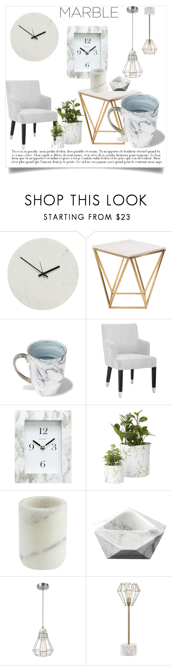 """""""Marble"""" by yourlittlemarie ❤ liked on Polyvore featuring interior, interiors, interior design, home, home decor, interior decorating, Holly's House, Nuevo, Jordan Carlyle and Chaney"""