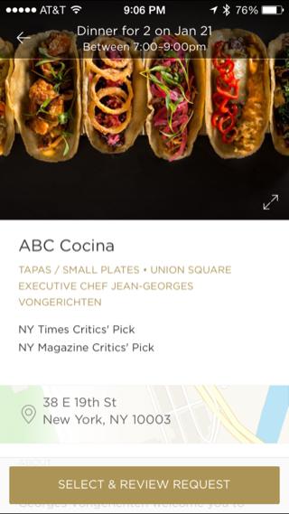 Reserve iPhone detail views, booking screenshot