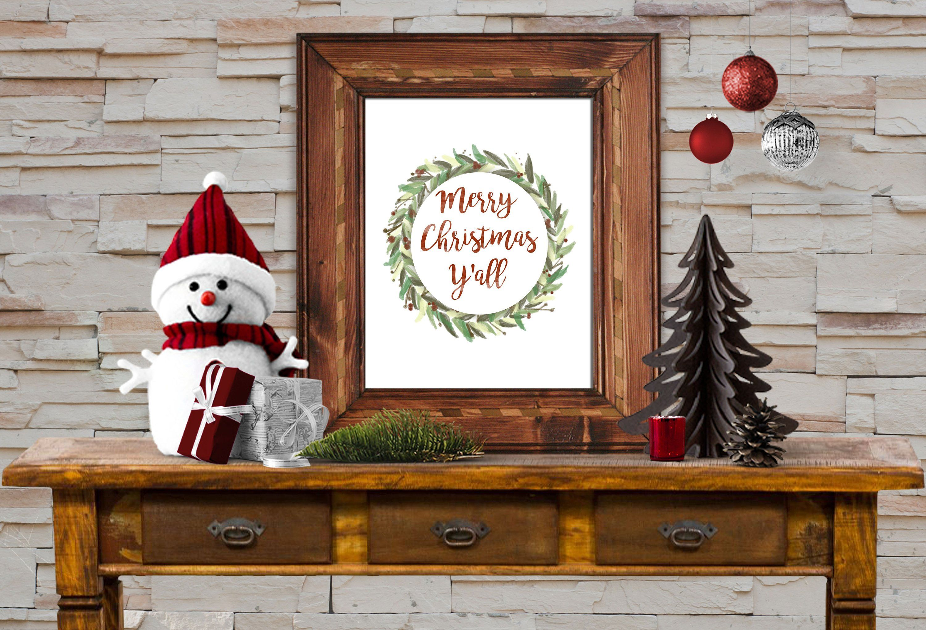 Merry Christmas Y all 8x10 Print Instant Download