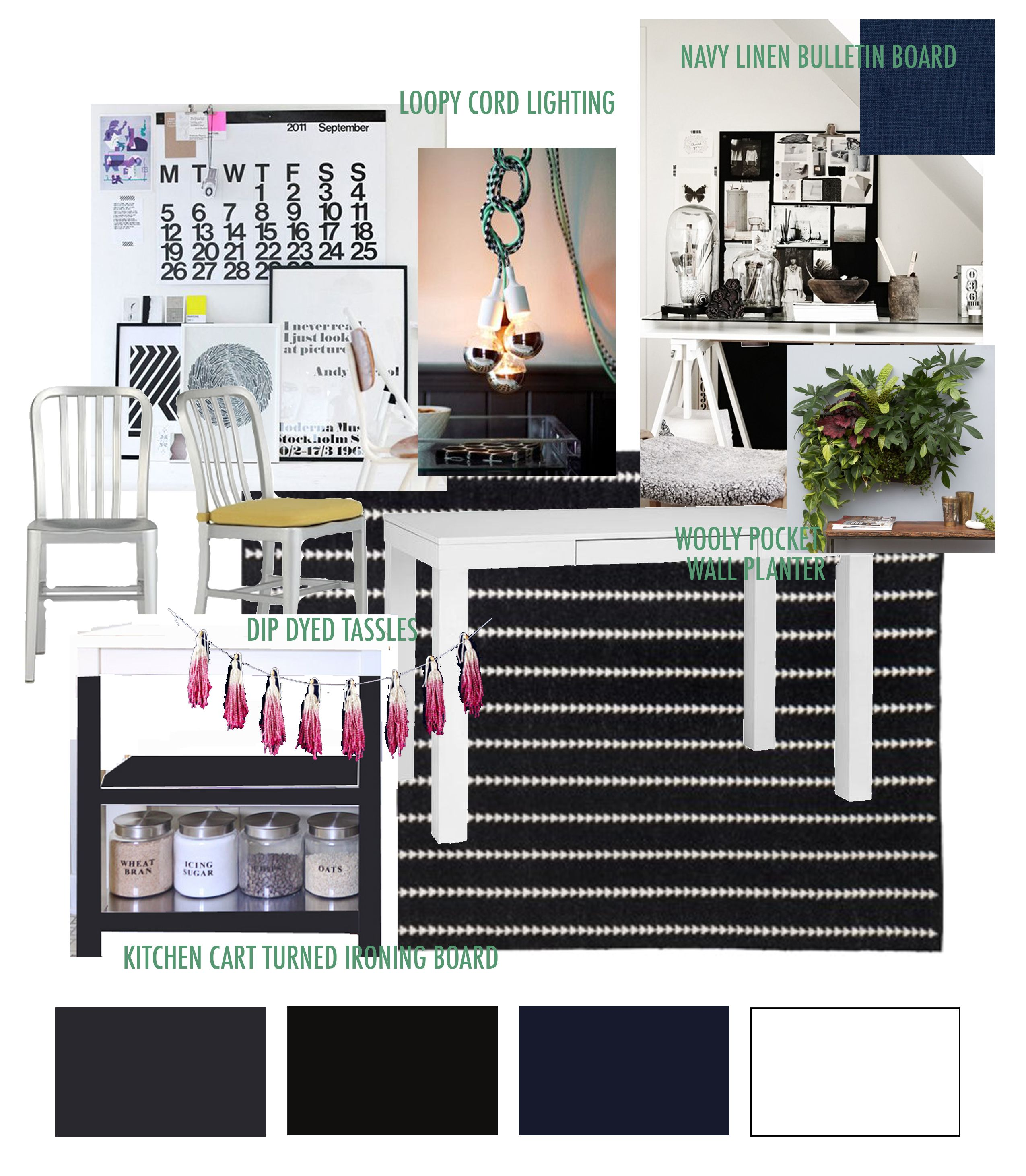 my #office/#craft workspace mood board: an experiment in mixing #navy #black, #charcoal & #white