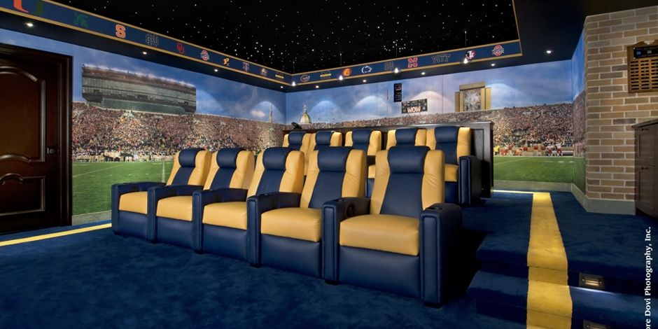 F Notre Dame Home Theater Seating View | Go Irish | Pinterest