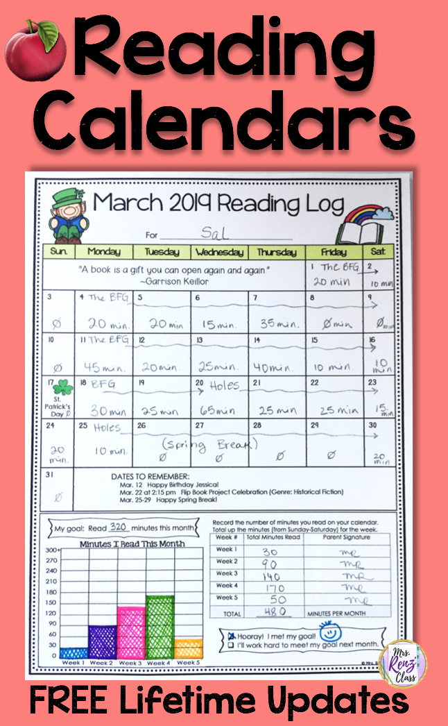 Reading Logs Editable Monthly Reading Calendars with FREE
