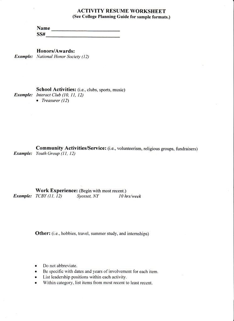 Resume Samples For High School Graduates College High School Senior
