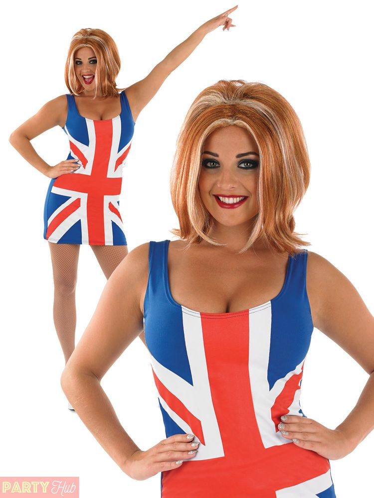 30b93c63369b Ladies Ginger Spice Costume + Wig Spice Girls Union Jack 90s Fancy Dress  Outfit