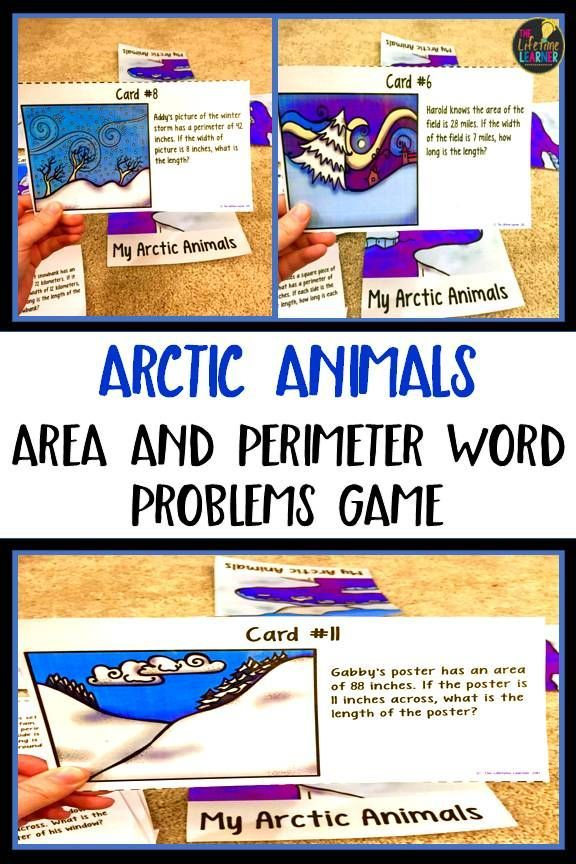 Winter Area and Perimeter Word Problems Game Math Games