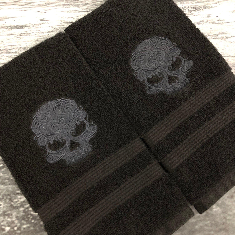 Skull Hand Towel Set Gothic Bathroom Decor Skull Decor Halloween Decor Bathroom Decor Embroidered Towels Embossed Towels Gothic Bathroom Decor Gothic Bathroom Embroidered Towels