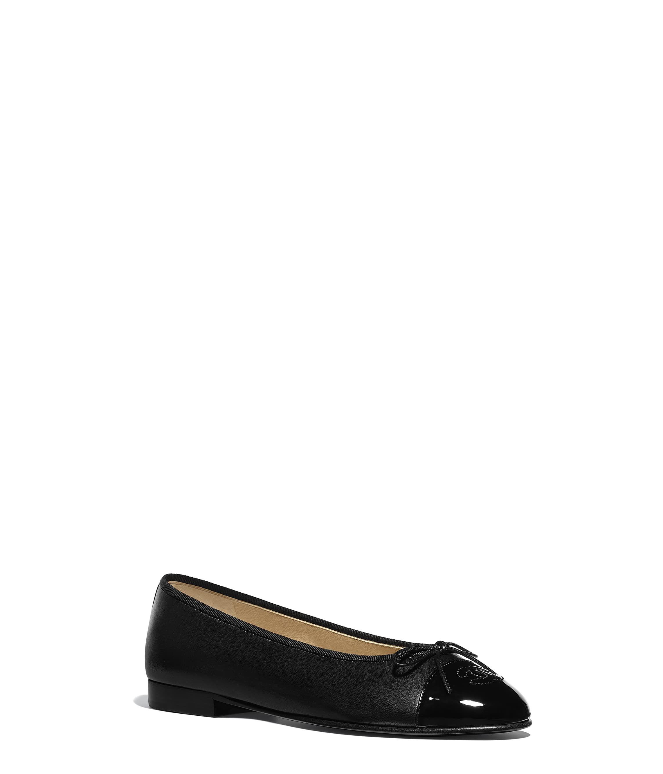 a9a825fcc64 Chanel - Black lambskin   patent calfskin ballerinas