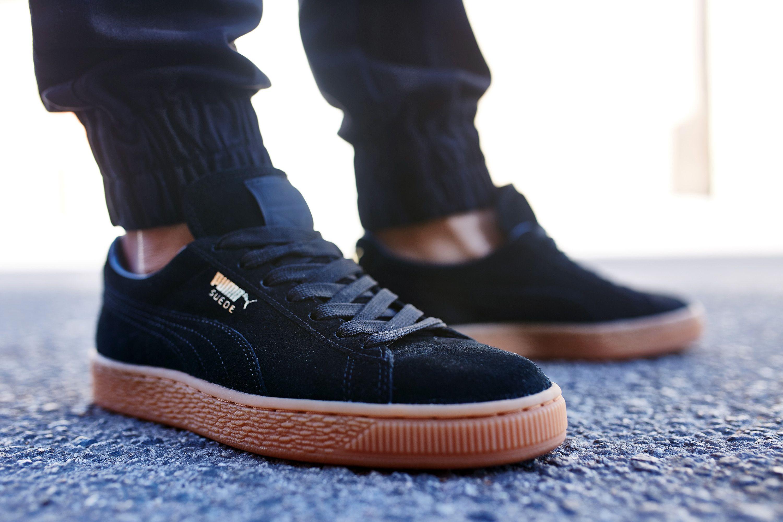 black puma gum sole