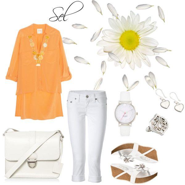 """orange & white"" by selenitabr on Polyvore"