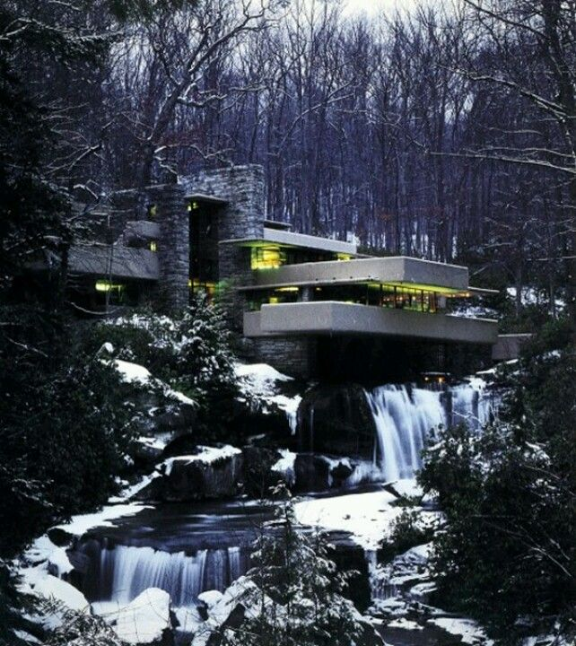 The master piece fallingwater winter view