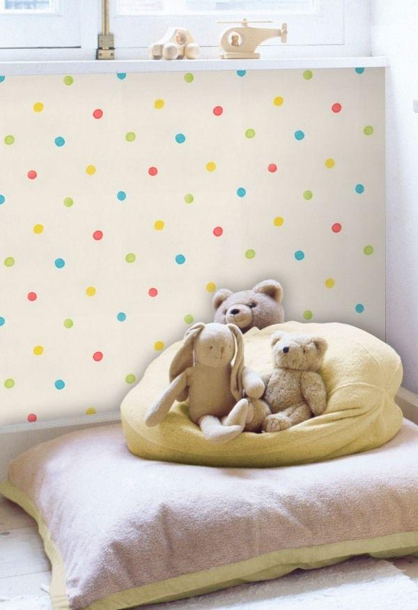 Deko-Wand Tapeten Kinderzimmer-Hell Gelb-Punkten Tupfen-Muster - gelbe dekowand blume fr wohnzimmer