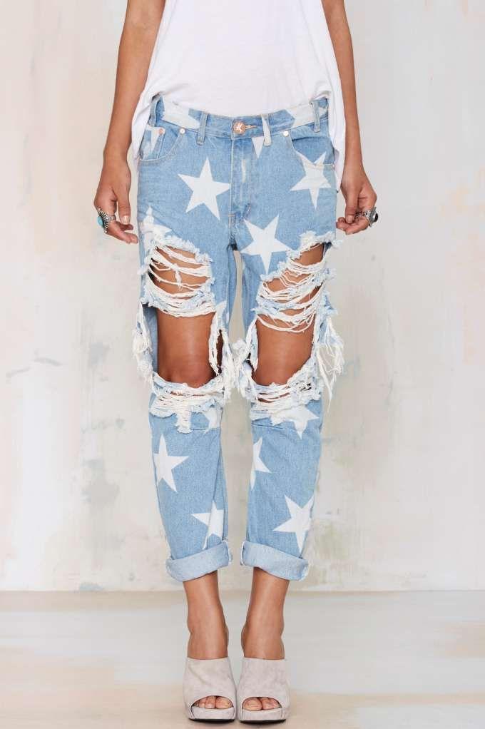 One Teaspoon Le Punk Boyfriend Jeans Saints Ripped Boyfriend Jeans Boyfriend Jeans Fashion