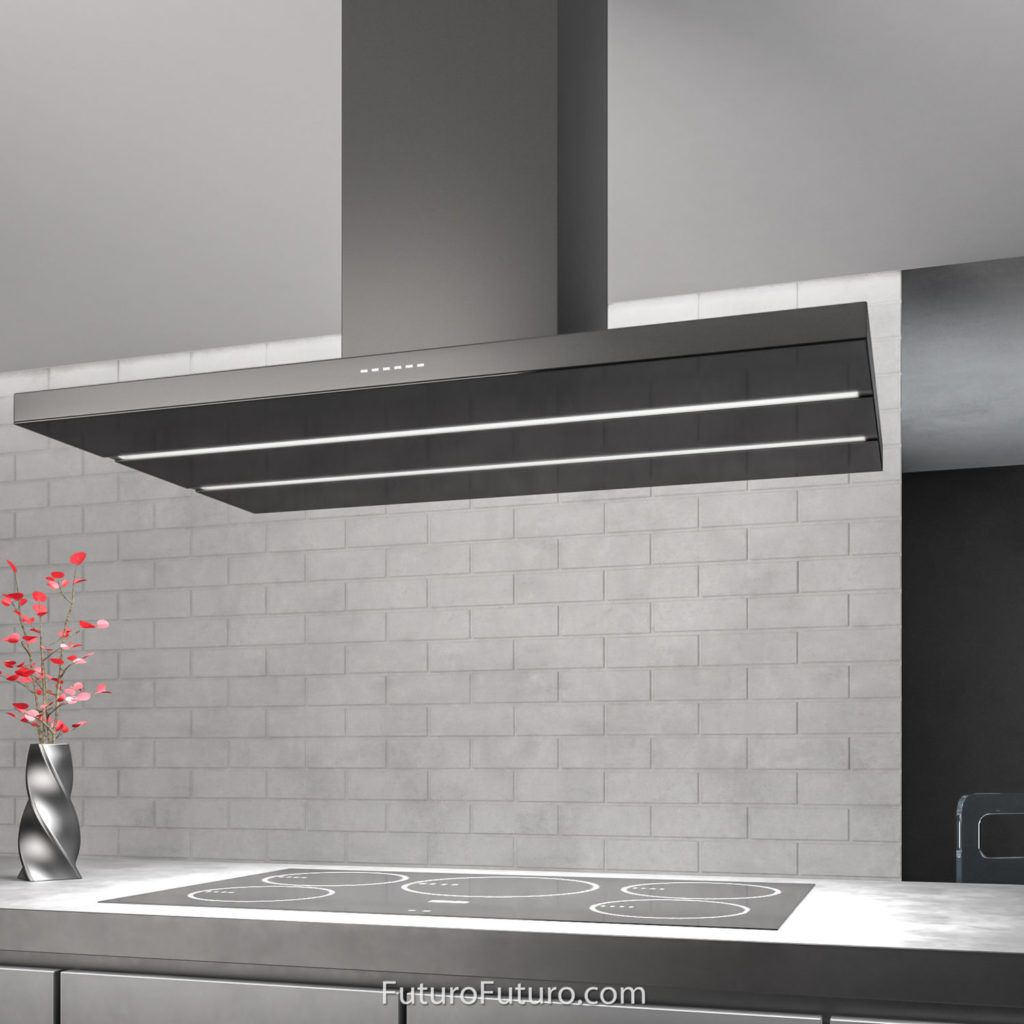 48 Viale Black Island Range Hood The Viale Range Hoods From Italian Manufacturer Futuro Futuro Offer The Lat Island Range Hood Range Hood Kitchen Range Hood