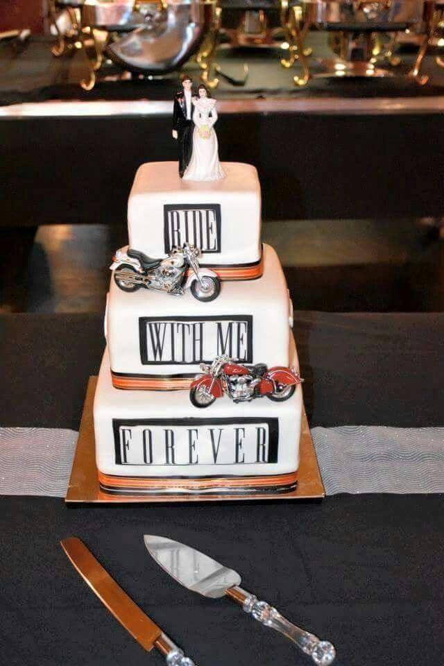 Ride With Me Forever Bike Wedding Square Wedding Cakes