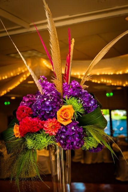 Orange and Purple Wedding, centerpieces, wedding reception ...