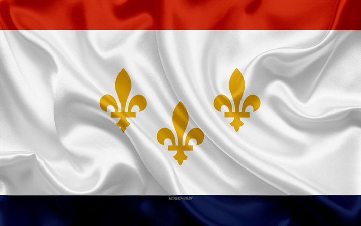 Download Wallpapers Flag Of New Orleans, 4k, Silk Texture