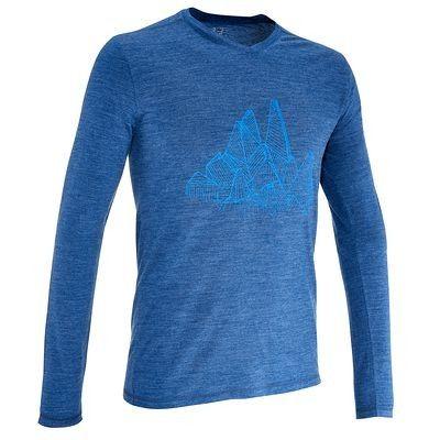 Senderismo Hombre Deportes de Montaña - camiseta lana merino hombre azul  QUECHUA - Deportes bf61ae53adcc