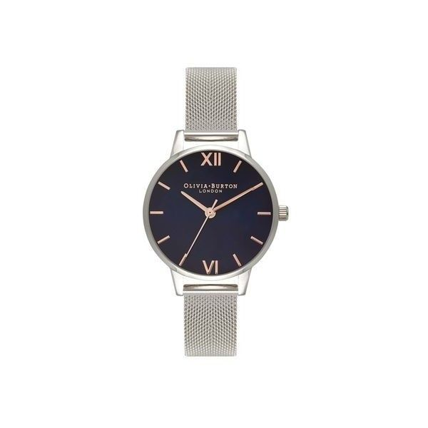 Navy Dial Stainless Steel Watch by Olivia Burton (€105) ❤ liked on Polyvore featuring jewelry, watches, navy blue, stainless steel jewellery, navy blue watches, olivia burton, stainless steel jewelry and dial watches