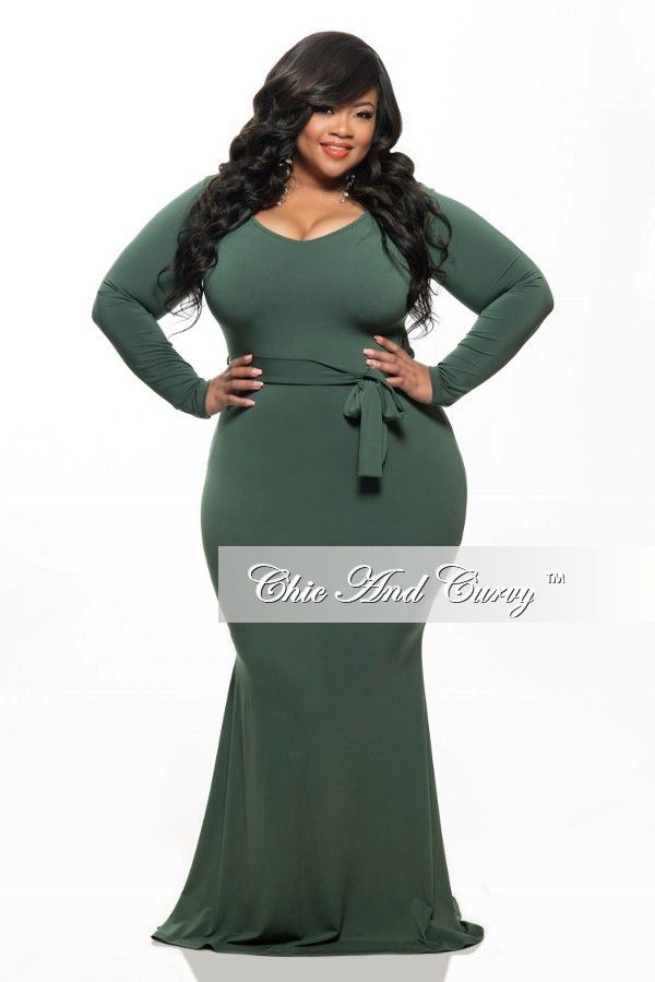 New Plus Size Long Dress With Tie In Olive Green Curvey Sexy