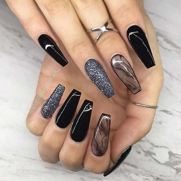 21 Bold And Edgy Black Coffin Nails Edgy Nails Coffin Nails Designs Perfect Nails