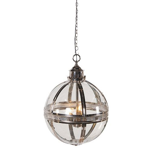 Hint Of Baroque Extravagance This Silver Or Br And Gl Ball Light Hangs On An Adjule Chain Features Intricate Metal Accents A Large