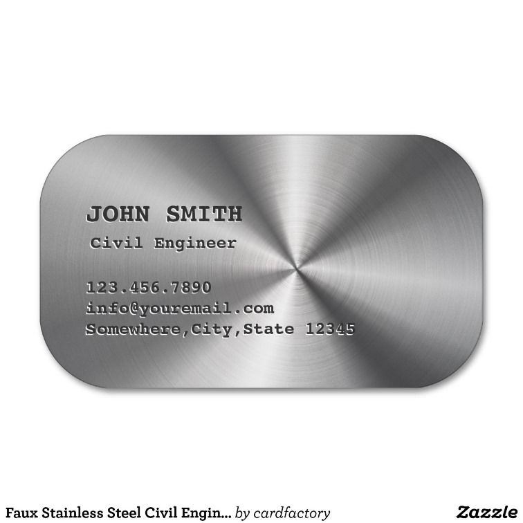 Faux Stainless Steel Civil Engineer Business Card Zazzle Com Metal Business Cards Business Cards Creative Innovative Business Cards