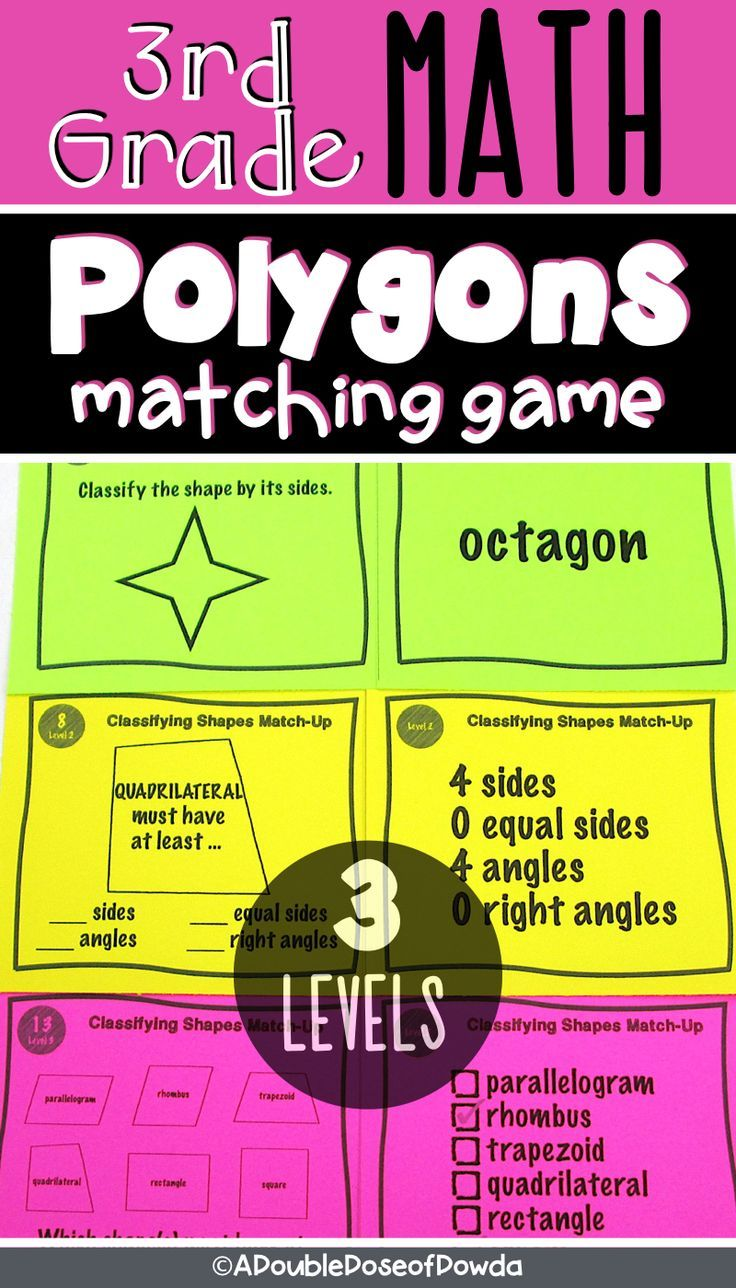 Polygons Matching Activity Game Common core math