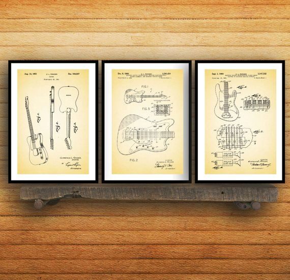 Fender Guitar Poster - 3 PACK, Fender Guitar Blueprint, Fender Guitar Patent, Fender Guitar Prints, Fender Guitar Art, Guitar Decor SP42 #fenderguitars