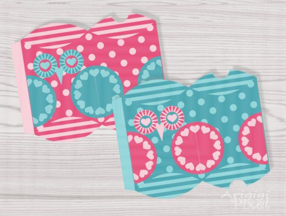 Printable Pillow Gift Box Owl in Love DIY Printable box template - gift box templates free download