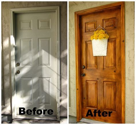 A Faux Wood Painting Tutorial is part of Diy door, Metal front door, Garage door paint, Painting metal doors, Wood front doors, Faux wood paint - Faux wood painting tutorial