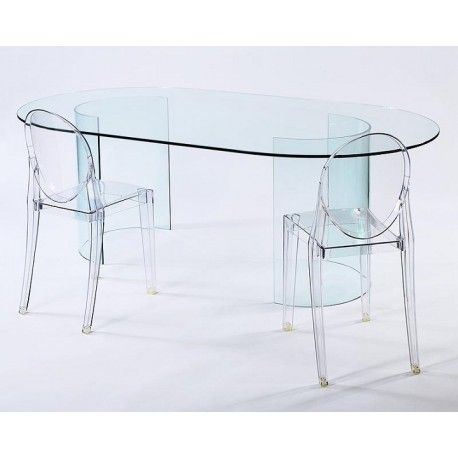 Carosello Racetrack Oval Glass Dining Table.