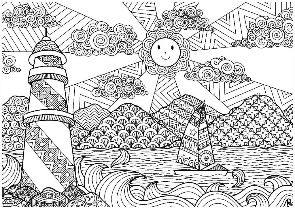 Scenery Coloring Pages for Adults   Adult coloring pages ...