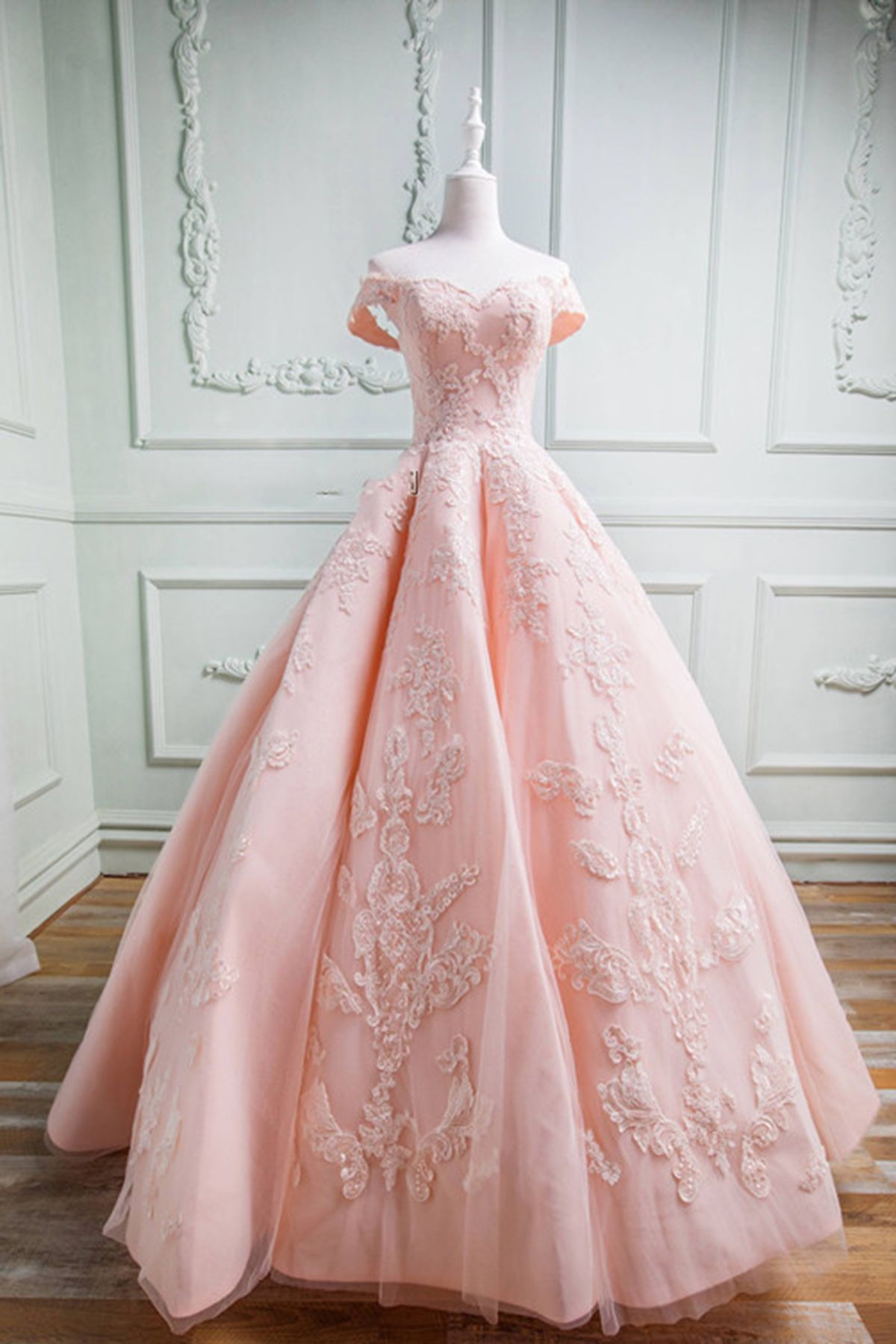 Quinceanera Dress Sweet 16 Dresses Spring Pink Tulle Sweetheart Neckline Long Off Shoulder Evening Dress Long Formal Prom Gown Prom Dresses Lace Ball Dresses Gowns Dresses [ 1800 x 1200 Pixel ]