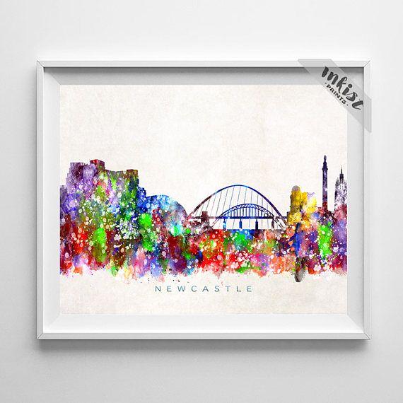Newcastle Skyline, England Print, Newcastle Poster, England