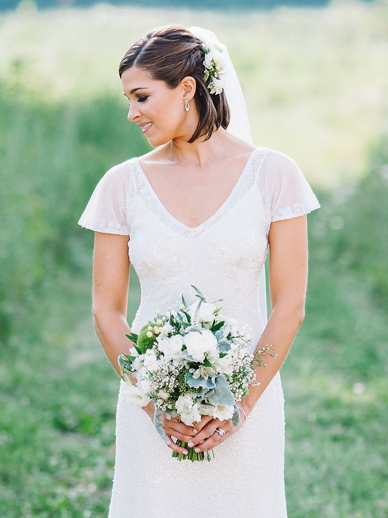short wedding hairstyles with veils theknot