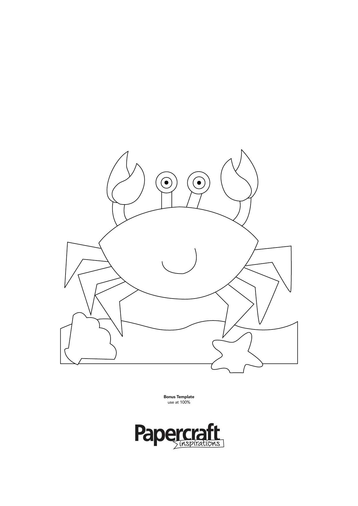 crab template for summer paper craft projects brought to you by