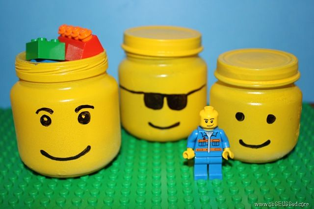 great idea for party favors.  Baby Food Jars, Paint and a steady hand to draw/paint the face!  I can also see this done with protein powder bins, for lego storage...
