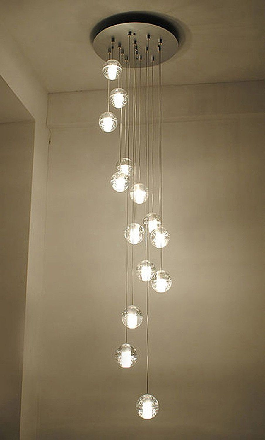 Getop American Style Crystal Glass Ball Meteor Shower Chandelier