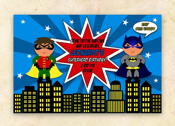 Batman Robin Party Invitation boys bDay party ideas Pinterest
