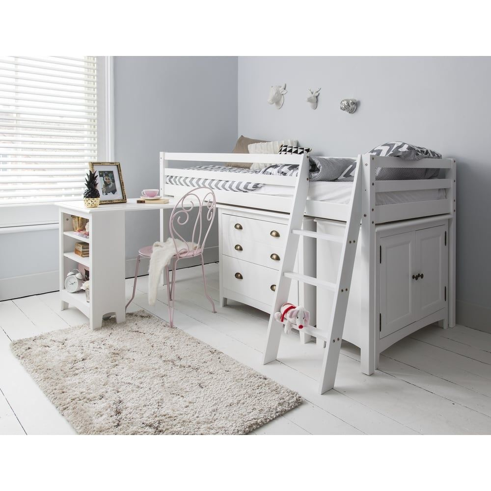Sleep station in white with chest of drawers cabinet u desk cabin