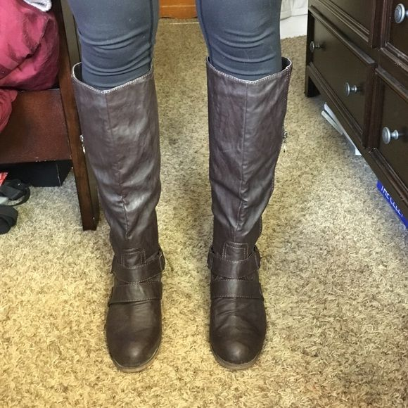 Tall boots Tall brown boots. In great condition, only worn a couple times. Dark chocolate brown color. Zipper is for looks only they are slip on boots. No imperfections Shoes