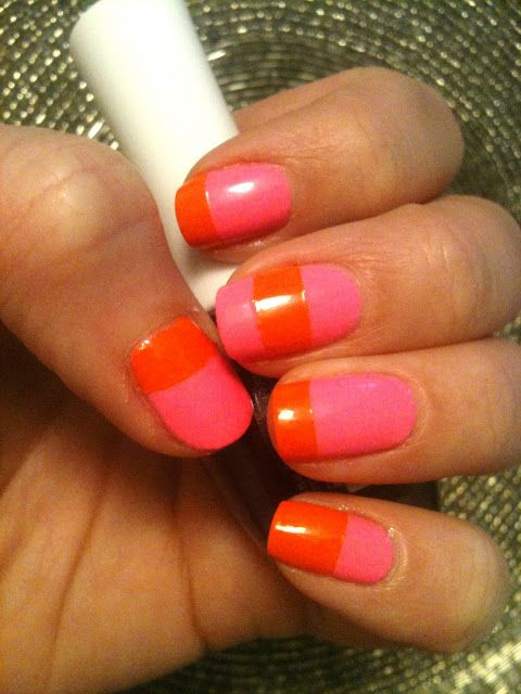 Orange And Pink Nails With Images Color Block Nails Nails