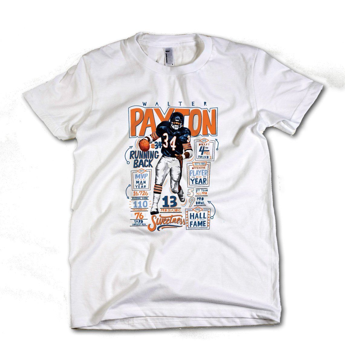 Walter Payton Chicago Youth T-Shirt Payton 34 14-16 White.